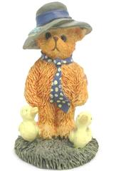 Vintage Albert Price Ceramic Orange Bear Figure Collectible Gray Hat Yellow Duck