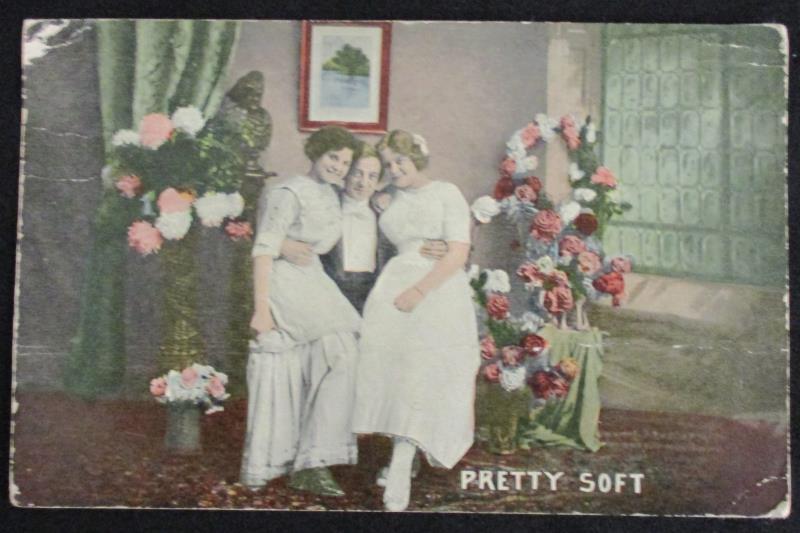 Vintage 1914 Postmark Color RPPC Postcard Ladies And Man 1ct Franklin Stamp
