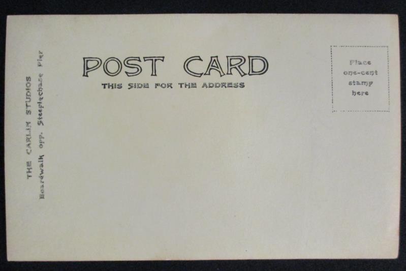 Vintage RPPC Postcard Carlin Studios Lady Steeplechase Pier Never Postmarked