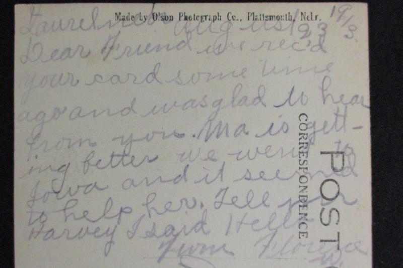 Vintage 1913 RPPC Residence St Laurel Neb Olson Photo 1ct Left Face Washington