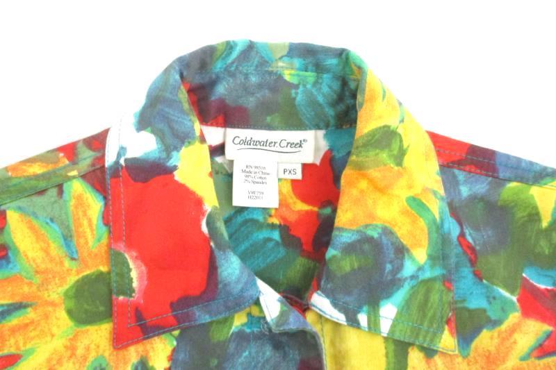 Coldwater Creek Women's Bright Floral Button Front Jacket Cotton Blend Sz PXS