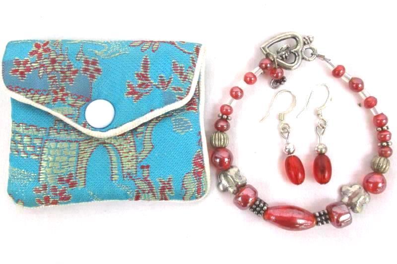 Women's Red Silver Beaded Bracelet Dangle Earring Set Chinese Silk Mini Bag