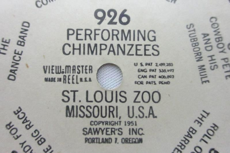 1951 View Master Reels Of St. Louis Zoo Performing Chimpanzees 926 And Lions 927