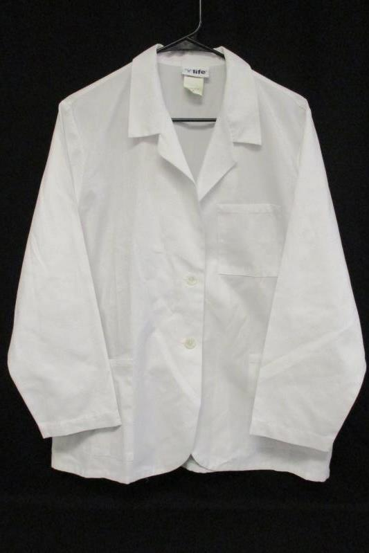 V Life Women's Solid White 2 Button Scrub Top Medical Jacket Long Sleeve Sz M
