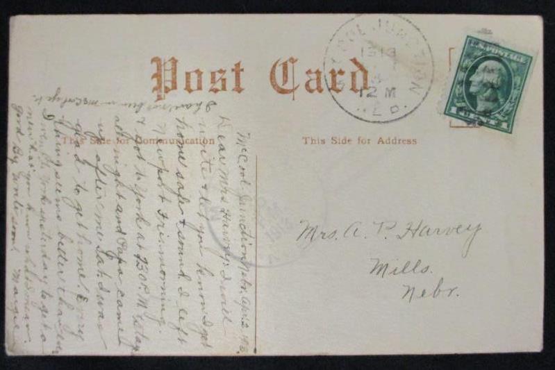Vintage 1913 Postmark Linen RPPC Postcard NY Central School Washington 1ct Stamp