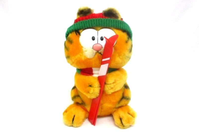 "Vintage Garfield Cat Skiing 7"" Plush Stuffed Animal Toy 1980's with Tag Fun Farm"
