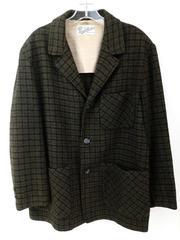 Vintage MERRILL WOOLENS Wool Sport Coat Green Herringbone Plaid Blazer Men 42/44