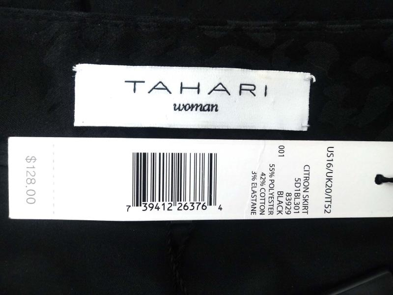TAHARI Woman Citron Skirt Black Leopard Print Pleated Skirt Women's Size 16