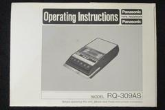 Vintage Panasonic Tape Recorder Operating Instructions Model RQ-309AS Booklet