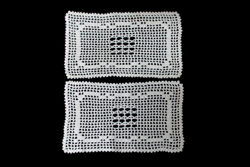 Pair Of White Hand Crocheted Dollies Home Decor