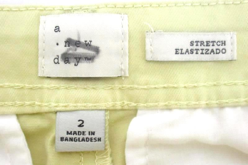 A New Day Women's Slim Stretch Pale Yellow Pants Straight Size 2 With Tag