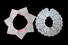 Lot of 2 Vintage Hand Crocheted Collars Annie White And Off White With Pink Trim