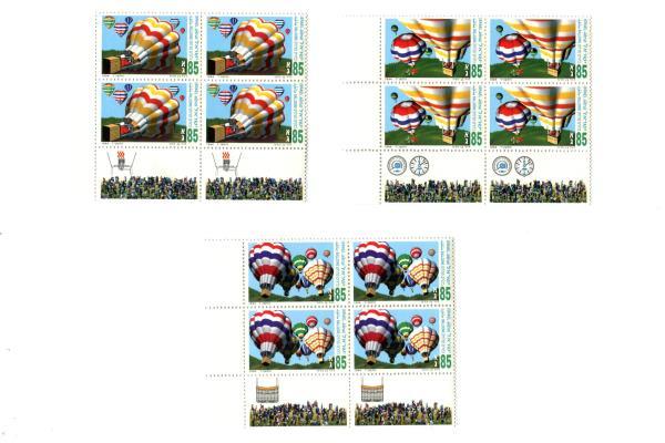 1994 Israel 3 Blocks of 4 Unused Hot Air Balloon Championship Tab Panel MNH