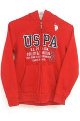 US Polo Assn Boy's Red Navy Full Zip Sweatshirt Hoodie Polyester Size 10 12