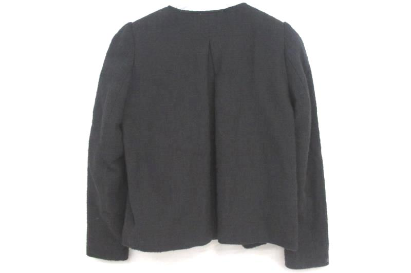 H&M Women's Full Zip Blazer Blue Gray Textured Gold Accents Pockets Size 10