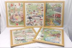 Lot of 5 Framed Mid-Century School Reader Dick And Jane Style Posters