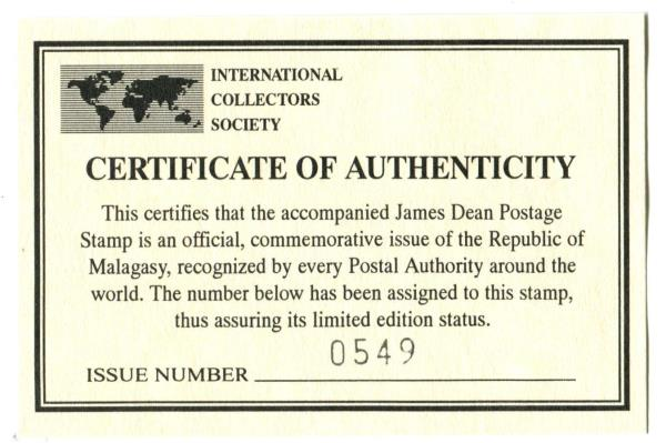 Republic of Malagasy Unused 2 James Dean Souvenir Sheetlets MNH with COA's