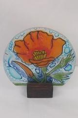 "Small 3.5"" Pampeana Fused Glass Poppy Art Panel in Wooden Stand, Ecuador"
