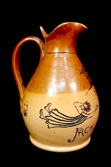 Jack and Jill Pictorial Ceramic Pitcher Vase Brown Tan Two Tone