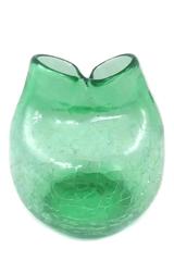 Mid-Century Modern Green Crackle Pinch Top Art Glass Vase Hand Blown