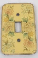 Vintage Single Toggle Switch Plate Cast Metal And Resin Floral Peony Dogwood