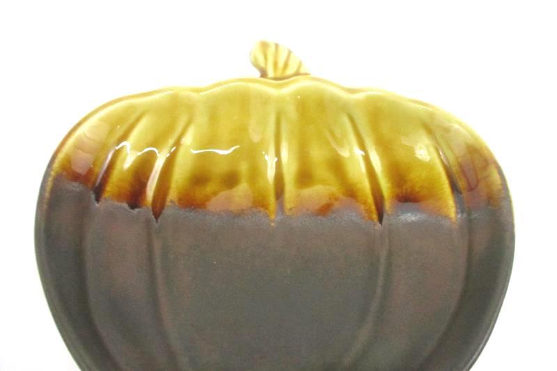 Pumpkin Shaped Candy Dish Gold Brown Ceramic