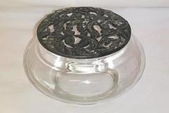 Vintage Metzke Potpourri Bowl With Decorative Pewter Lid Floral Motif