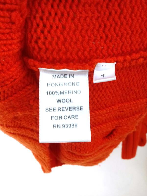 ADRIENNE VITTADINI Cable Knit Sweater Mock Neck 100% Merino Wool Orange Sz L