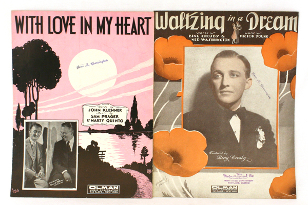 Pair of OLMAN Sheet Music 1931 & 1932 With Love In My Heart~Waltzing in a Dream