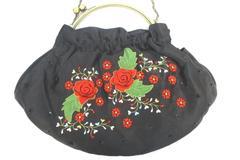Sasha Beautiful Vintage Hand Made Handbag Clutch Black Floral Embroidery Chain