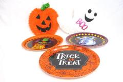 Lot of 5 Mixed Halloween Decor Plastic Serving Plate Tinsel Wall Hanging Ghost