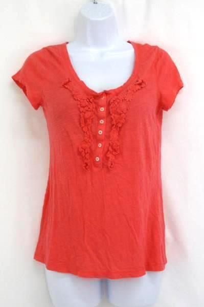 Lot of 2 Women's Tops Orange Short Sleeve Old Navy Blue Long Sleeve Indigo Sz M
