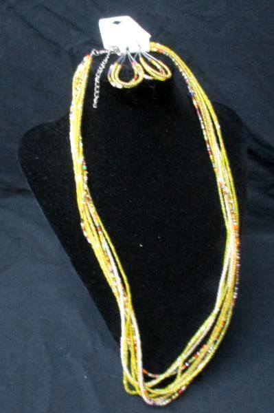 "10 Strand Hand Made Glass Bead 29"" Necklace Dangle Teardrop Earrings NEW Jewelry"