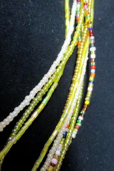 "10 Strand Hand Made Glass Bead 29"" Necklace Dangle Teardrop Earrings NEW Jewelry"