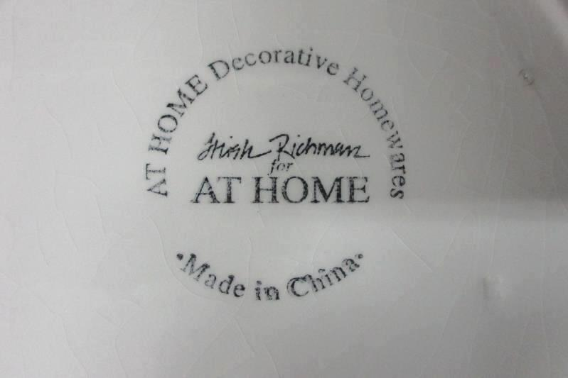 Two AT HOME Trish Richman Ceramic Christmas Tree Plates 8 Inch