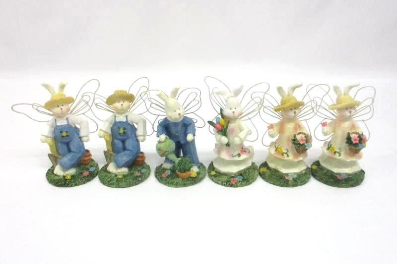 Set of 6 K's Collection Easter Bunny Rabbit Figurines with Butterfly Wings