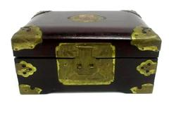 Vintage Oriental Style Burgundy Wood Engraved Brass and Silk Jewelry Box