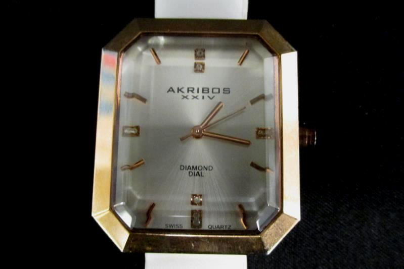 Akribos XXIV Women's Rose Gold-Tone Watch White Leather For Parts or Repair