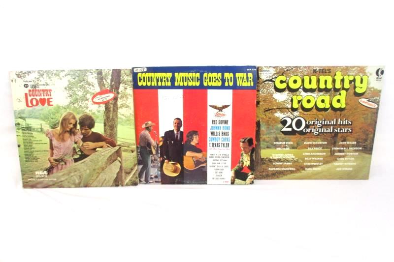 Lot 3 Country Music Vinyl Records 20 Hits Country Road Goes to War Country Love