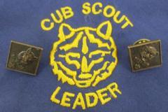 Lot of 2 Brass Cub Scout Parents Pin Bobcat Tiger Cub Scout Leader Neckerchief