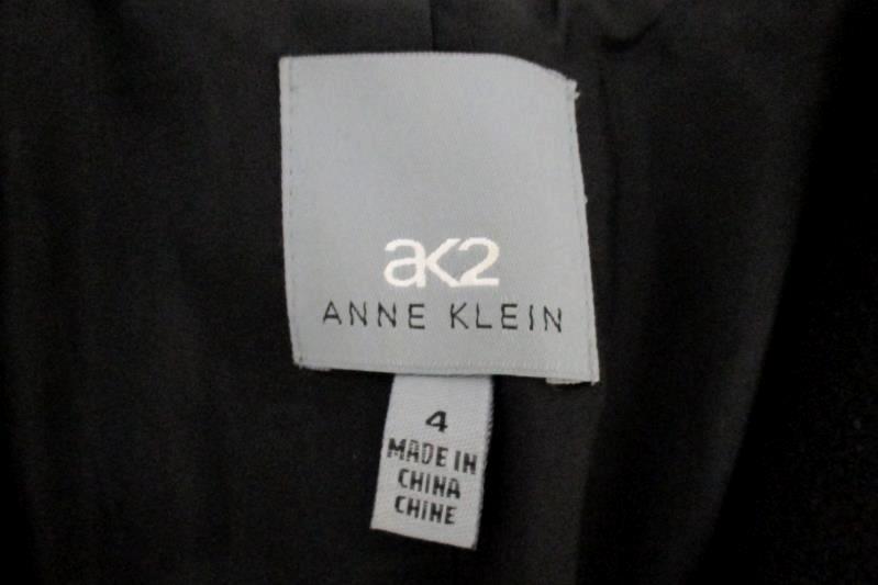 AK2 Anne Klein Women's Black 2 Button Front Blazer Jacket Pure Wool Size 4