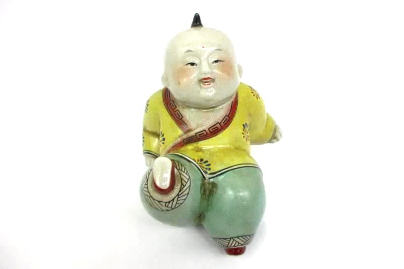 Selectives Oriental-Style Playful Kicking Figurine Ceramic 7.5 in