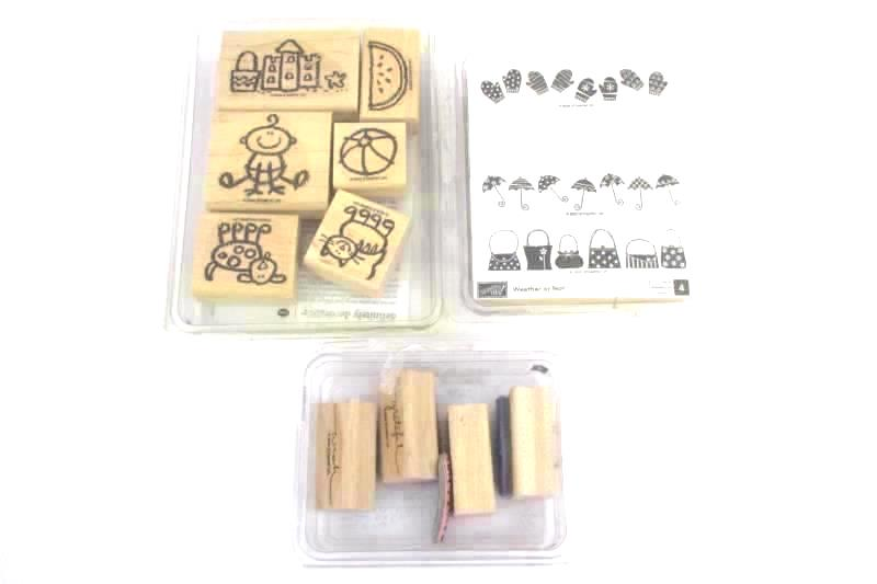 Lot of 3 Stampin Up Rubber Mounted Wooden Stamp Sets Crayon Fun Weather or Not