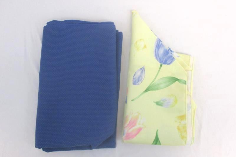 Large Spring Blue Textured Tablecloth and Yellow Floral Table Runner 50.5x52in