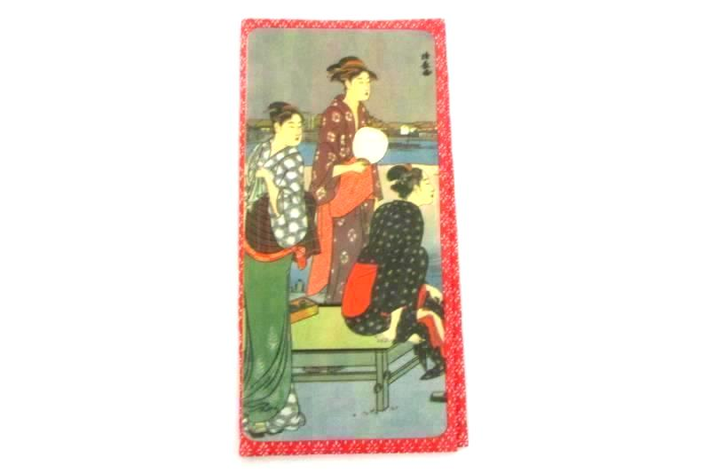 Cloth Checkbook Cover Red White Japanese Women Design