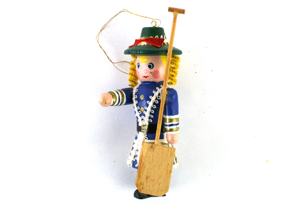 """4"""" Hand-Painted Wooden Ornament Soldier Woman with Paddle"""