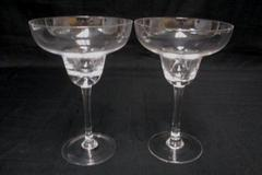 "Set of 2 Margarita Glasses 7.25"" Tall Unbranded 12oz Clear Elegant"