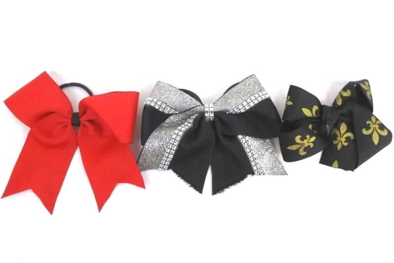 Lot of 3 Girl's Hair Ribbon Bows Clip Band Fleur Di Lis Black Rhinestone Red