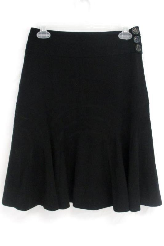 Elevenses Women's Black Flare Skirt Stretch Side Buttons Hidden Zipper Size 2