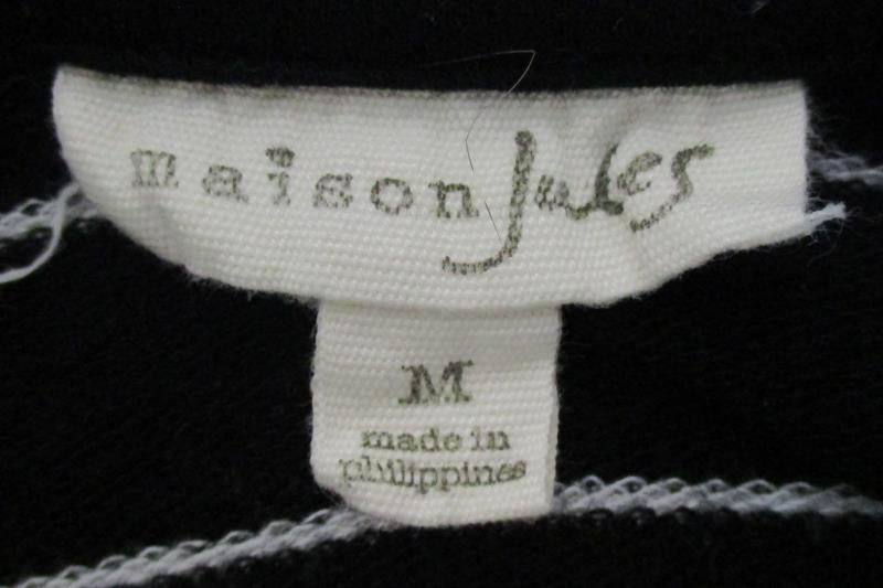 Maison Jules Women's Black Striped Cowl Neck Sweater Dress Rayon Blend Size M